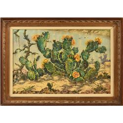 """Simon Michael """"Cactus And Water"""" Oil Painting"""