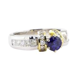2.05 ctw Sapphire And Diamond Ring - Platinum and 18KT Yellow Gold