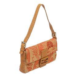 Fendi Orange Jacquard Canvas Brown Leather Baguette Bag