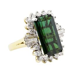 8.86 ctw Green Tourmaline And Diamond Ring - 14KT Yellow Gold