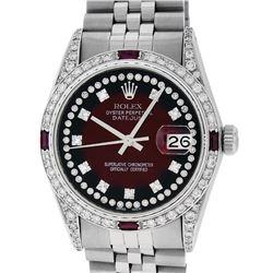 Rolex Mens Stainless Steel Diamond Lugs Red Vignette & Ruby Datejust Wristwatch