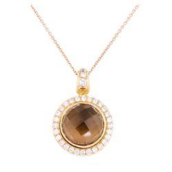 8.00 ctw Smokey Quartz and Diamond Pendant with Chain - 18KT Rose Gold