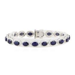 18.28 ctw Sapphire and Diamond Bracelet - 14KT White Gold