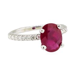2.38 ctw Glass Filled Natural Ruby and Diamond Ring - 14KT White Gold