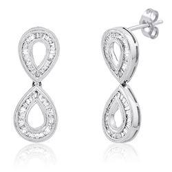 18k White Gold 1.12CTW Diamond Earrings, (SI3 /H-I)