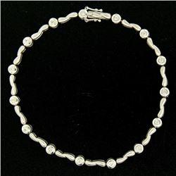 14K White Gold .40 ctw Bezel Set Diamond Double Twist Link Petite Tennis Bracele