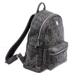 MCM Gray Visetos Canvas Leather Medium Studded Backpack