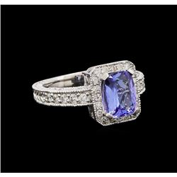 14KT White Gold 1.54 ctw Tanzanite and Diamond Ring