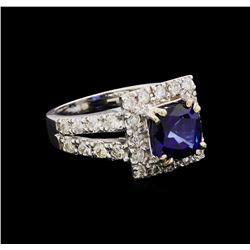 14KT White Gold 3.08 ctw Sapphire and Diamond Ring