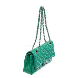 Chanel Green Quilted Patent Leather Classic Medium Double Flap Bag