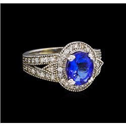 14KT White Gold 2.64 ctw Tanzanite and Diamond Ring