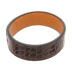 Hermes Brown Leather Crocodile Embossed Bracelet