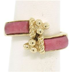14k Yellow Gold 2 Bezel Set Rectangular Pink Jade Bypass Ring