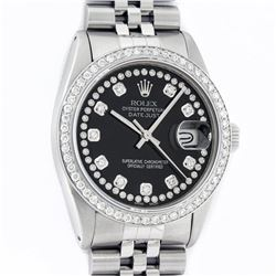 Rolex Mens Stainless Steel Black String Diamond 36MM Datejust Wristwatch With Ro