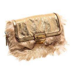 Prada Metallic Gold Faux Fur Leather Convertible Clutch Crossbody Bag