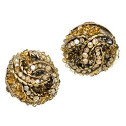 Chanel Gold CC Multi-Stone Clip-On Earrings