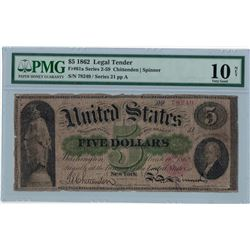 1862 PMG VG 10NET $5 Legal Tender Bank Note
