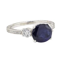 2.53 ctw Sapphire and Diamond Ring - 14KT White Gold
