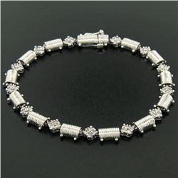 "14K White Gold 7.25"" 1.30 ctw Round Diamond Cluster & Ribbed Link Tennis Bracele"