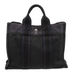 Hermes Gray Dark Blue Canvas Sac Fourre PM Tote Bag