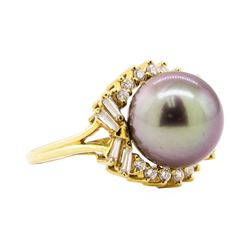 0.64 ctw Diamond and Pearl Ring - 18KT Yellow Gold