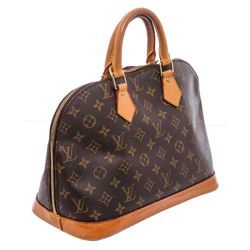 Louis Vuitton Monogram Canvas Leather Alma MM Handbag