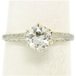 Etched 14k TT Gold .80 ctw European Cut Diamond Solitaire Engagement Ring