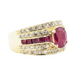 2.50 ctw Ruby and Diamond Ring - 14KT Yellow Gold