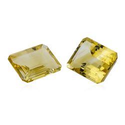 20.69 ctw.Natural Emerald Cut Citrine Quartz Parcel of Two