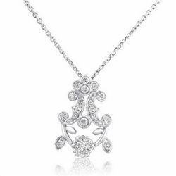 18k White Gold 0.32CTW Diamond Pendant, (SI3 /H-I)