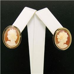 Vintage 14K Yellow Gold Oval Carved Shell Cameo Framed Screw Back Stud Earrings