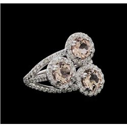 2.07 ctw Morganite and Diamond Ring - 14KT White Gold