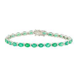 7.25 ctw Emerald and Diamond Bracelet - 18KT White Gold