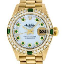 Rolex Ladies 18K Yellow Gold MOP Emerald President Wristwatch With Rolex Box & A
