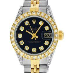Rolex Ladies 2 Tone 18K Black Diamond Lugs Datejust Wristwatch With Rolex Box