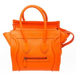 Celine Neon Orange Leather Micro Luggage Tote Bag