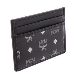 MCM Estate Black Reflective Nylon Leather Mini Card Case