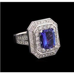 14KT White Gold 2.74 ctw Tanzanite and Diamond Ring