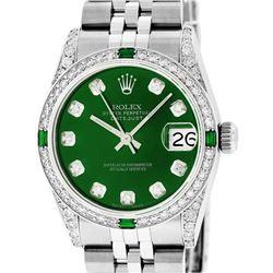 Rolex Women Midsize 31mm Green Diamond Lugs & Emeralds Datejust Wristwatch