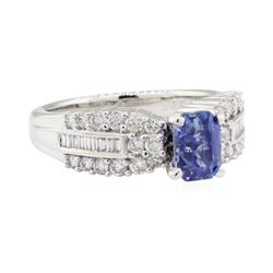 2.22 ctw Sapphire and Diamond Ring - 18KT White Gold