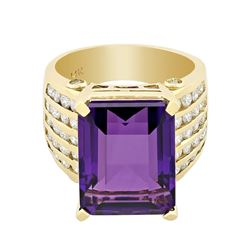 14KT Yellow Gold 13.67 ctw Amethyst and Diamond Ring