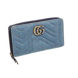 Gucci Blue Denim Marmont GG Peal Zip Wallet