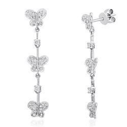 18k White Gold 0.60CTW Diamond Earrings, (I1-I2/H-I)