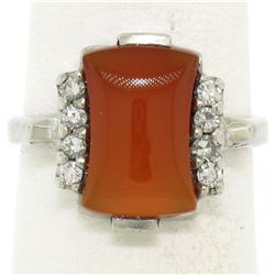Antique 10K White Gold Carnelian Solitaire Ring w/ .22 ctw Round Diamond Accents