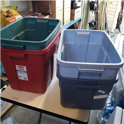 4 RUBBERMAID TOTES
