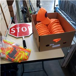 HIGH VIS VEST, STOP SLOW FLAGGER SIGN AND HATS
