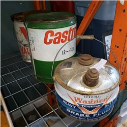 CASTROL AND VALVOLINE OIL CANS AND WAGNER BRAKE FLUID TIN