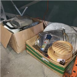 BOX OF KITCHEN ITEMS, STEAMER TRAYS, BREADBOX