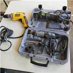 DREMEL, DEWALT ELECTRIC DRILL AND GENESIS ANGLE GRINDER