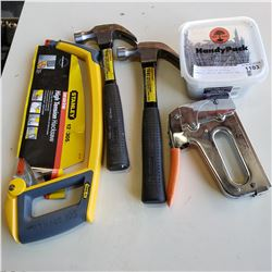 NEW HIGH TENSION HACKSAW, HAMMERS, NAILS, AND STAPLE GUN